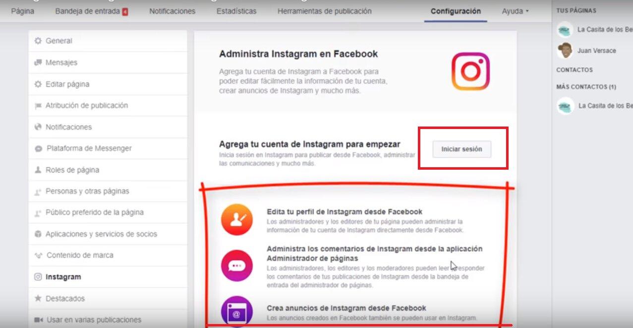 Vincular facebook con instagram paso 2