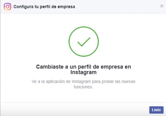 Perfil de empresa en Instagram cambiado paso 7