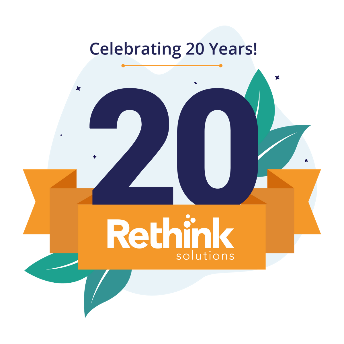 rethink solutions logo with a 20 year badge and green leaves