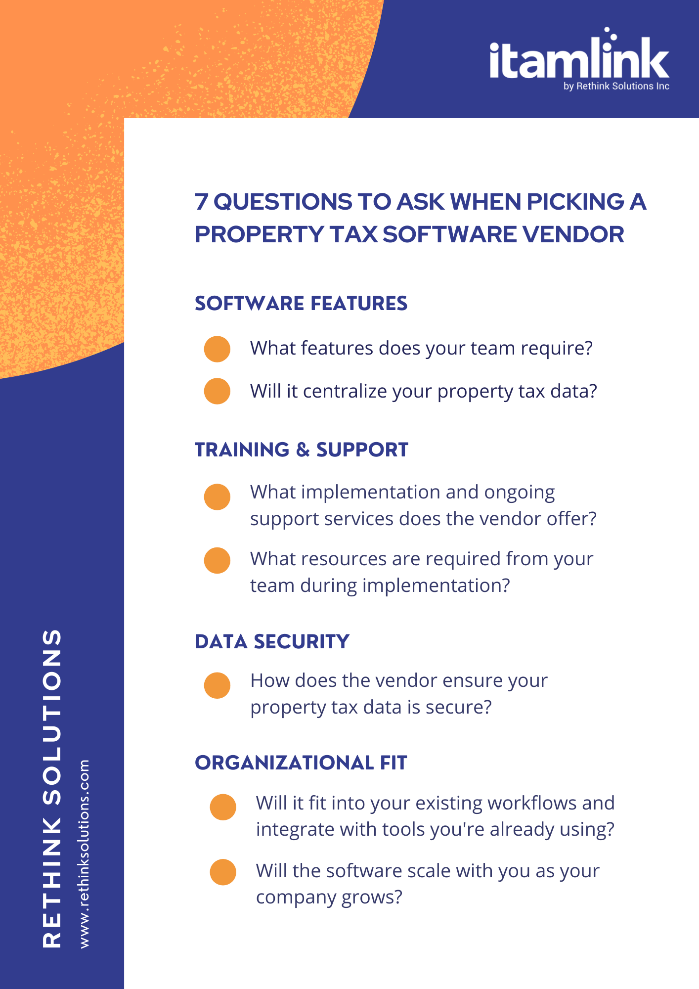 7-question checklist for selecting a software vendor, including features, training, security, and organizational fit