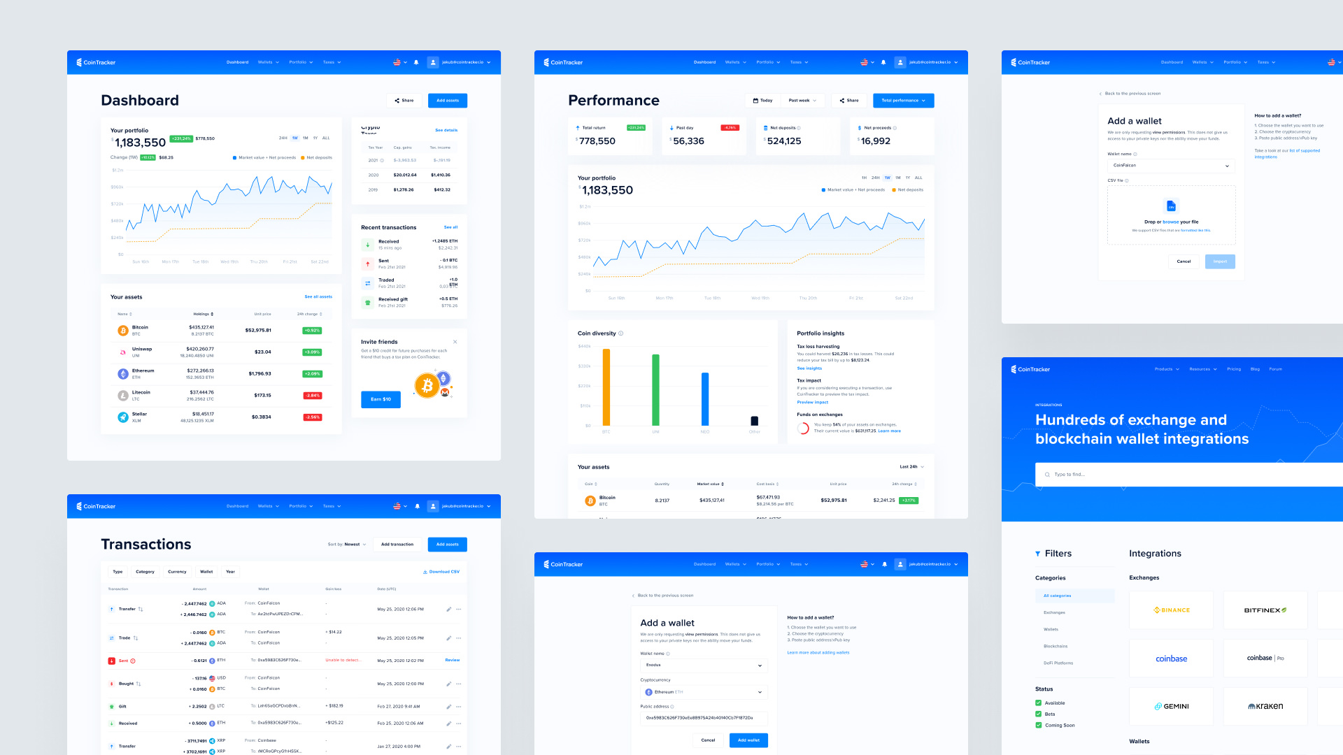 User Interface of the CoinTracker Web App