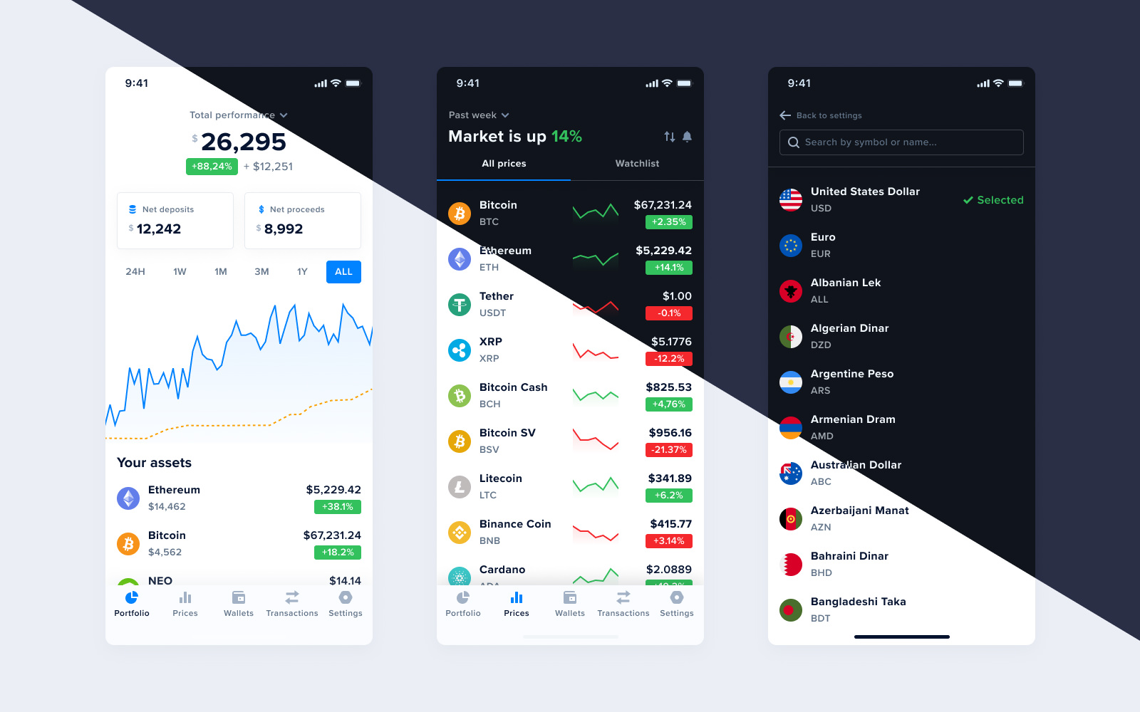 A Side-by-side Comparison of the CoinTracker App's Dark and Light Modes