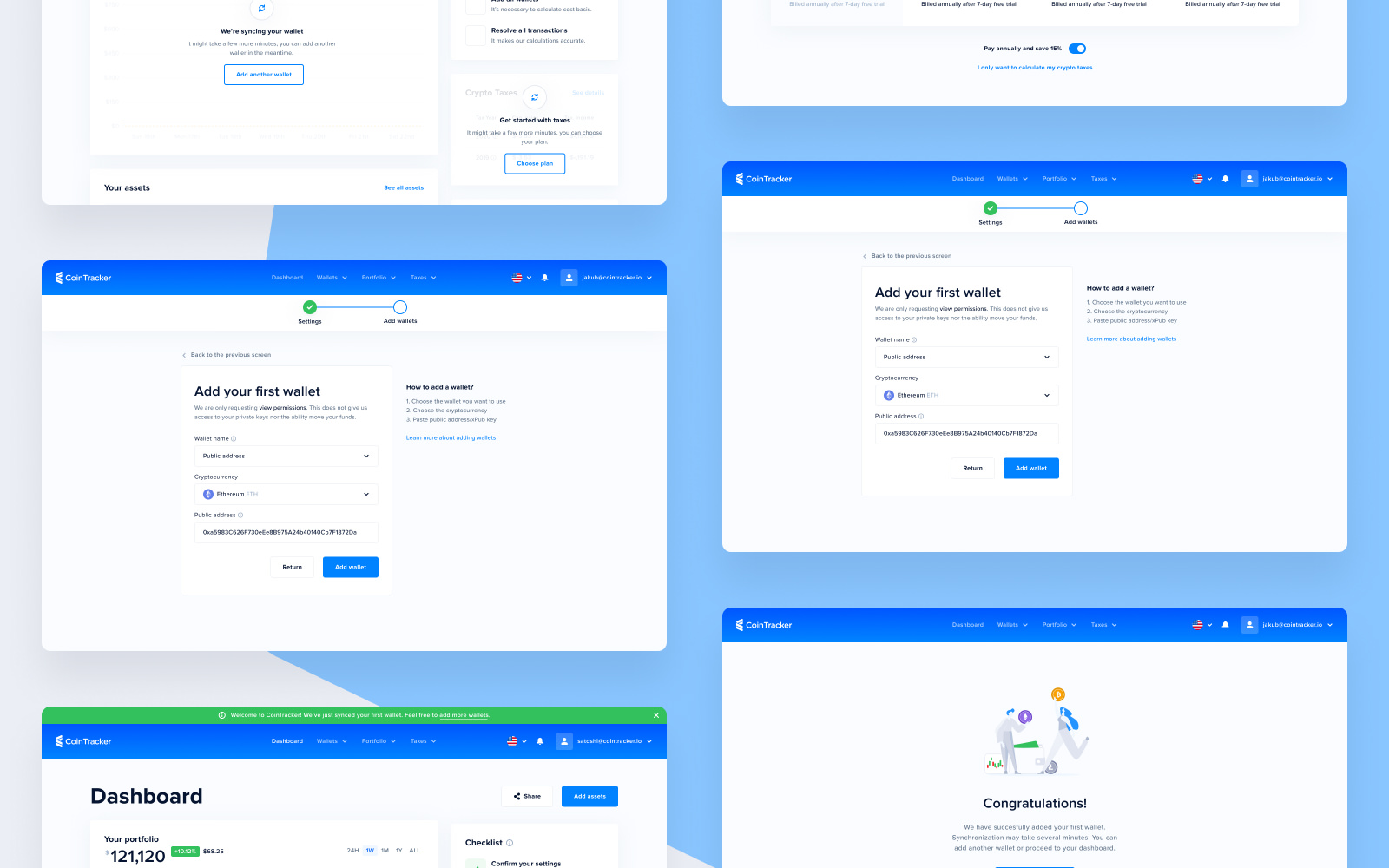 Onboarding Screens for CoinTracker Web Application