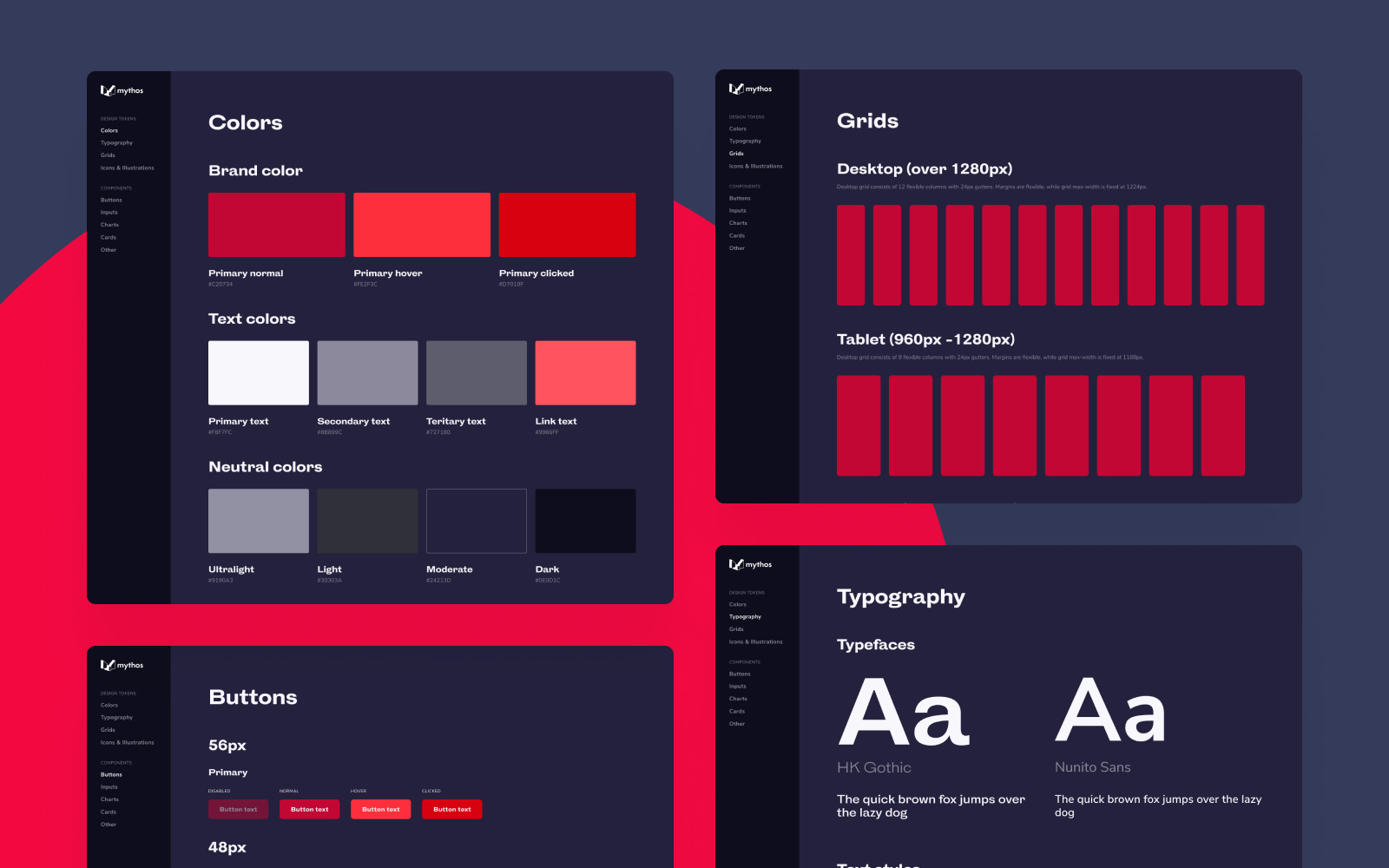 Design System of the Mythos app