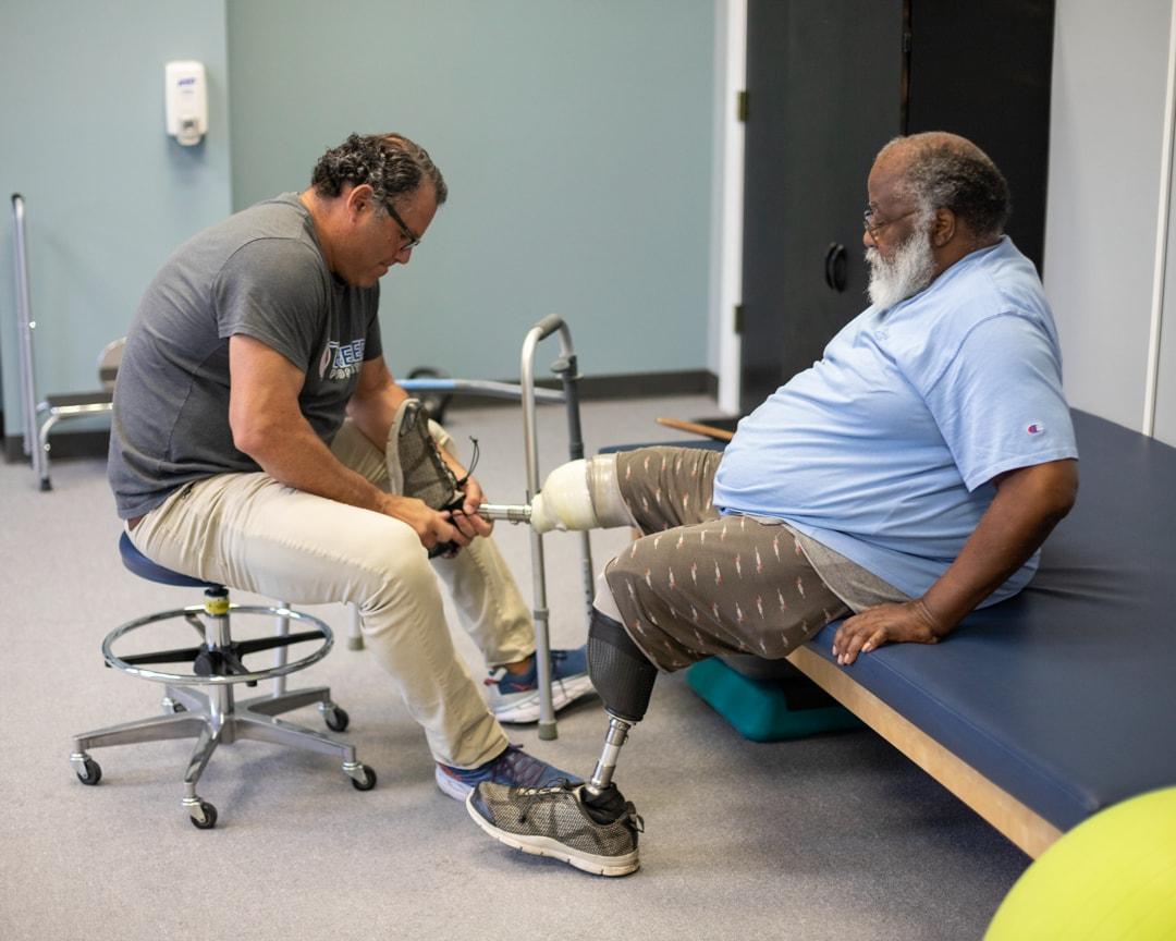 Scott with Fraser at Bremer Prosthetics in Saginaw, MI