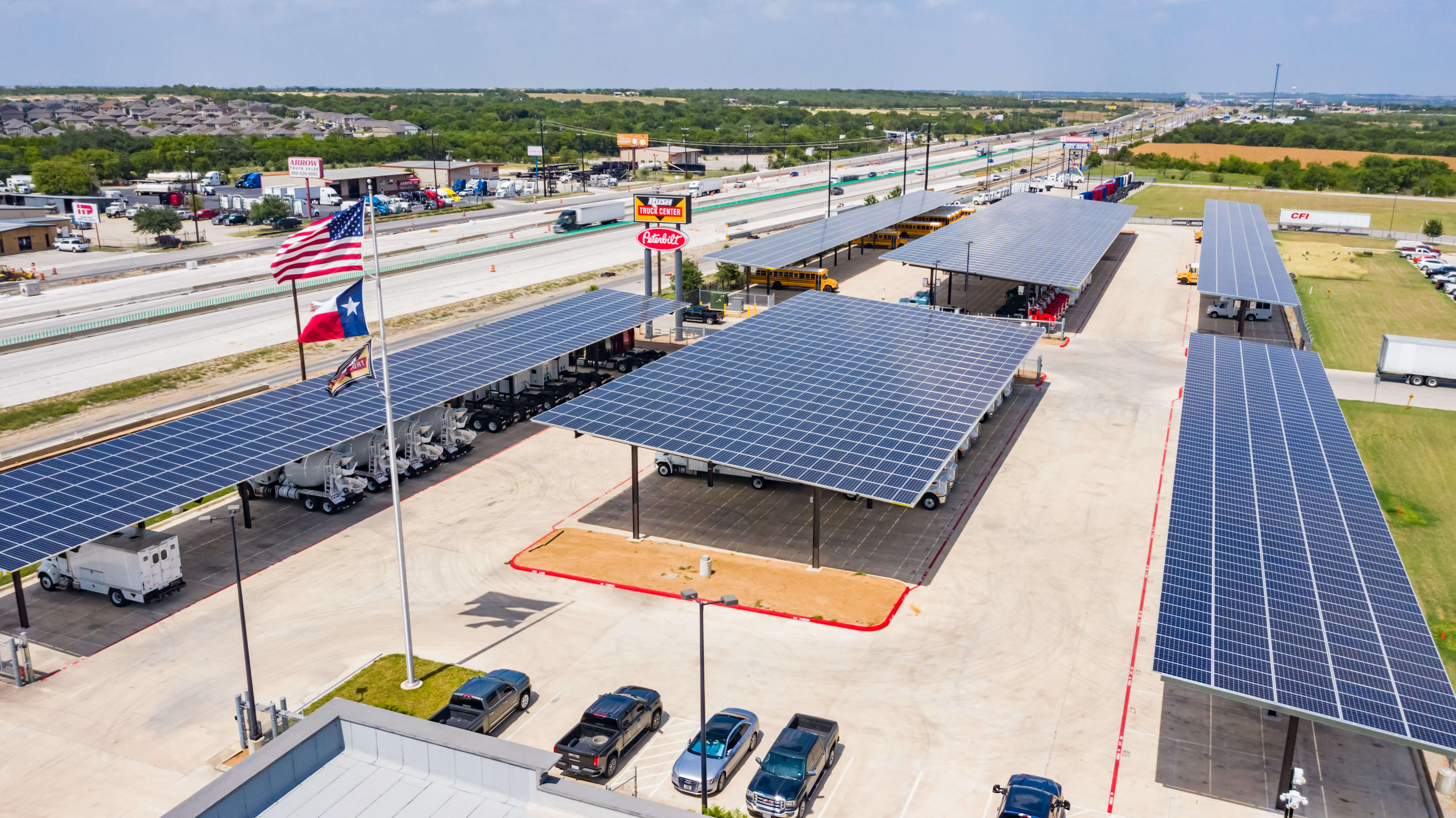 Rush Enterprises Solar Carports, Largest Solar Carports in Texas