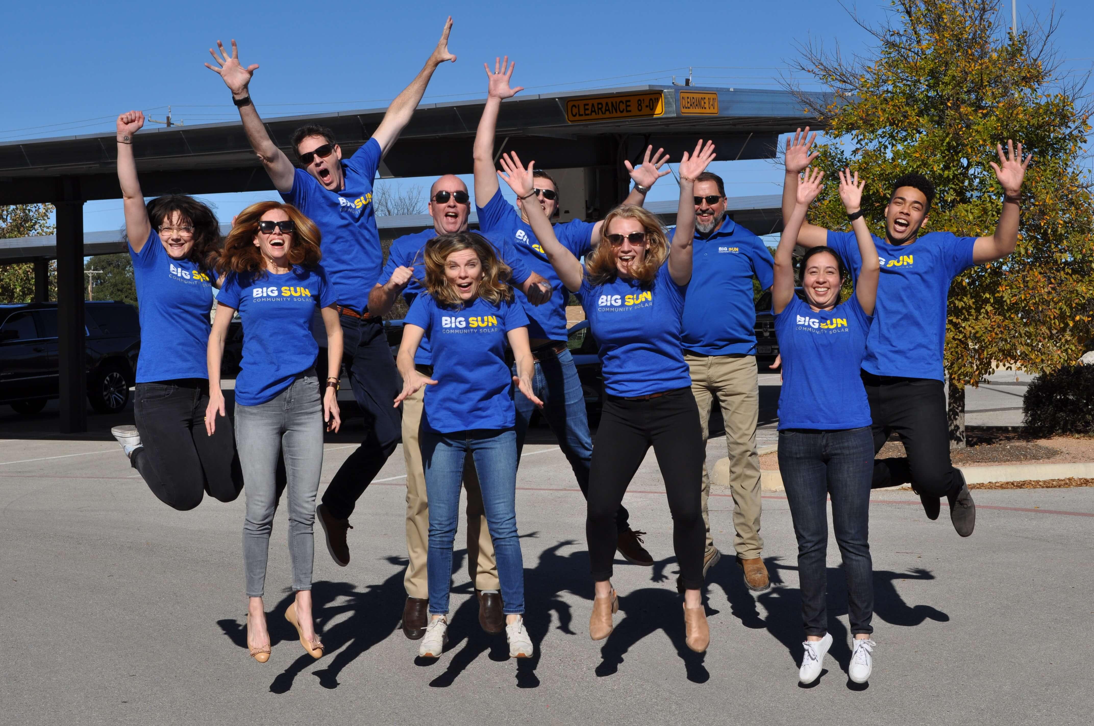 Big Sun Solar team jump photo