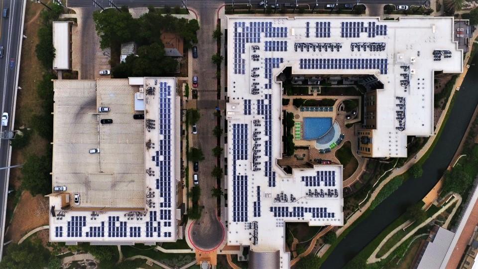 Bird eye view of solar panels at Riverhouse