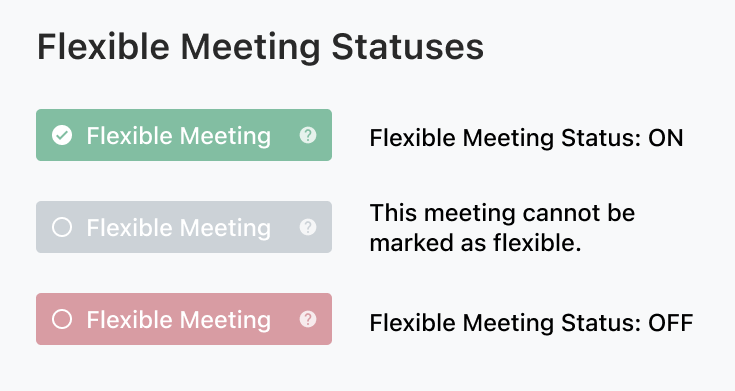 Flexible Meeting Statuses.  Green is ON Grey means you can't turn it on or off.  Red if off.