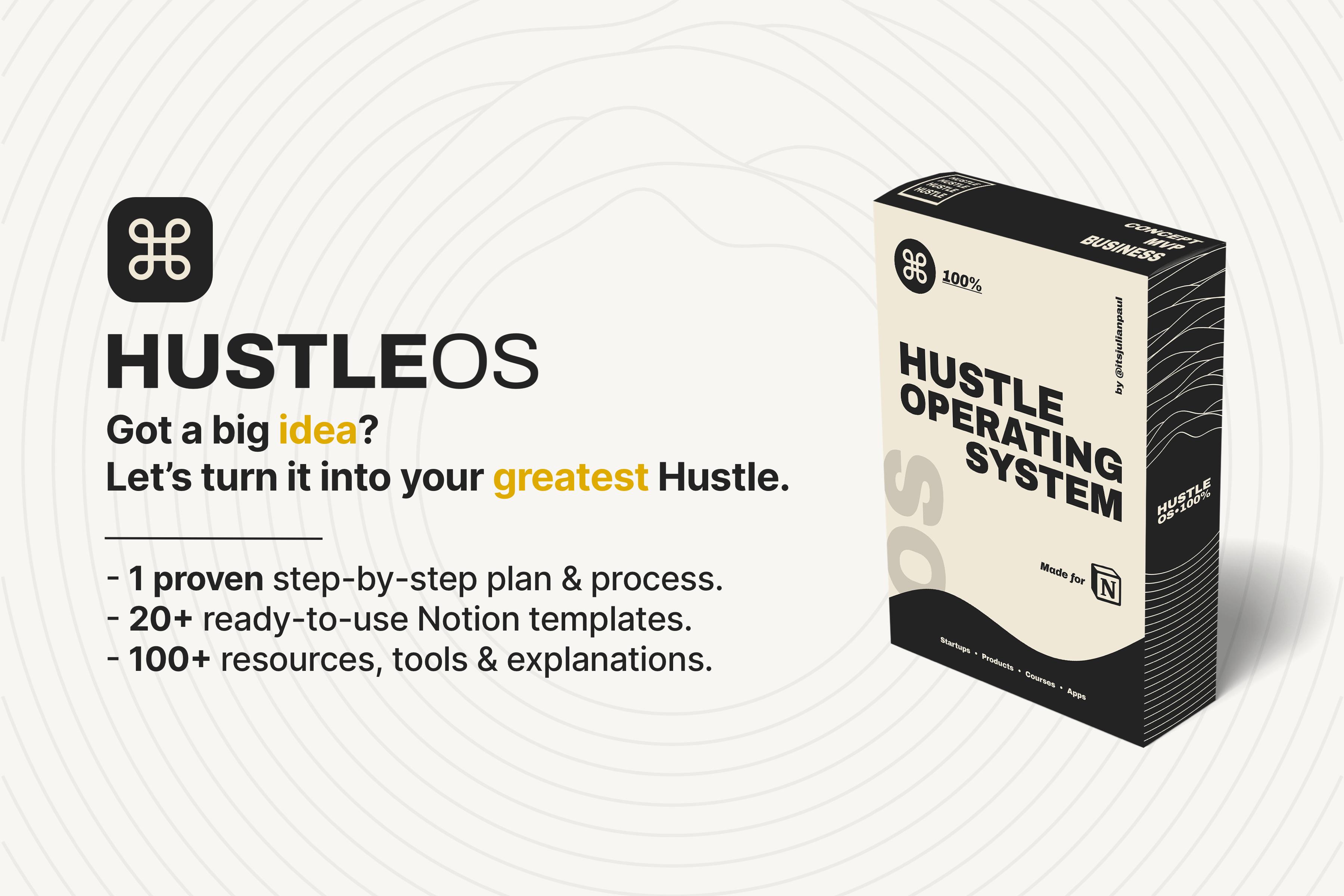 HUSTLE OS (Notion Dashboard)