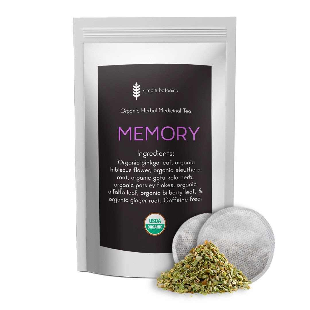 A bag of memory tea from simple botanics fills the picture.