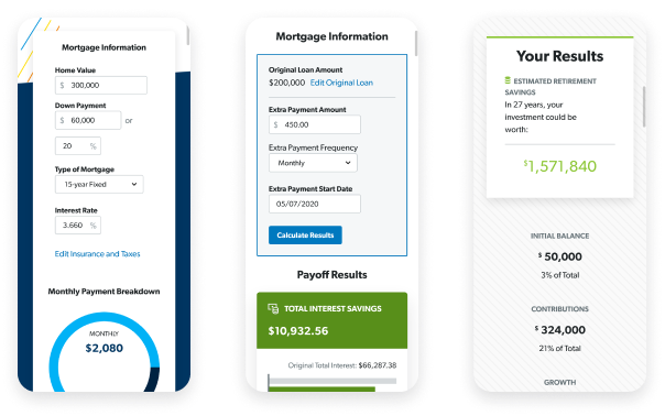 Phone-sized screenshots of Dave Ramsey's mortgage calculator, mortgage payoff calculator, and investment calculator.