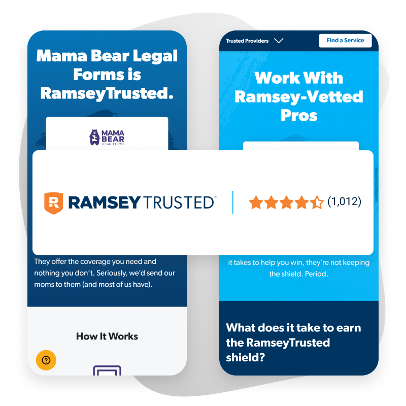 Two phone-sized screenshots of RamseyTrusted landing pages with an overlaid example of RamseyTrusted branding.