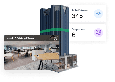 a 3D building model with analytics and virtual tour
