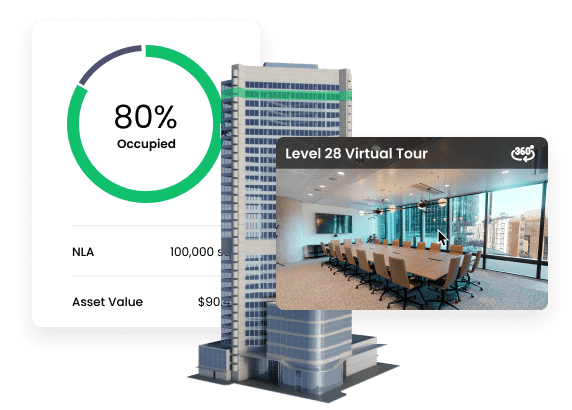 3D building with virtual tour and analytics
