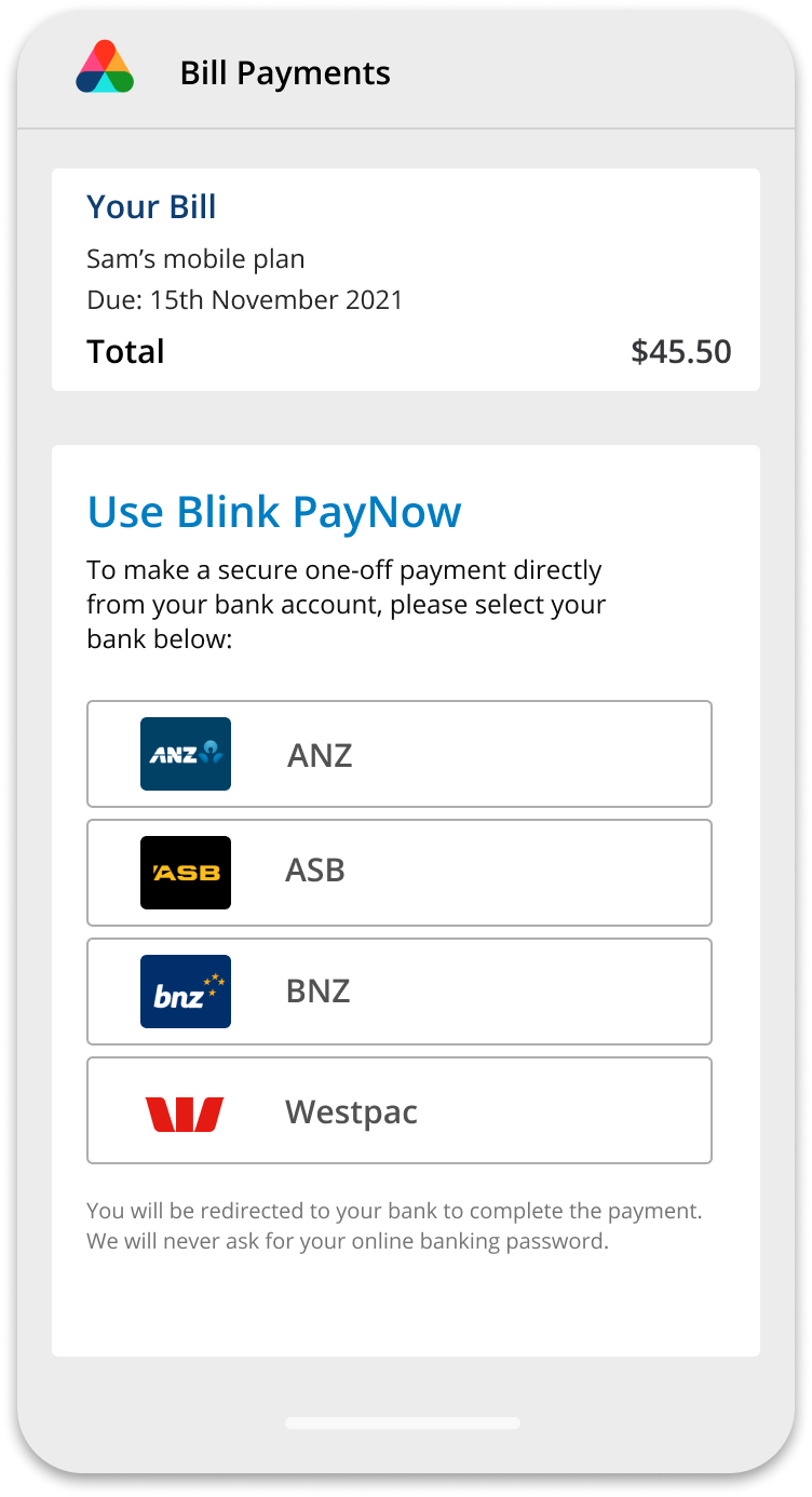 Showing how to pay bills from your merchant's app, choosing your bank