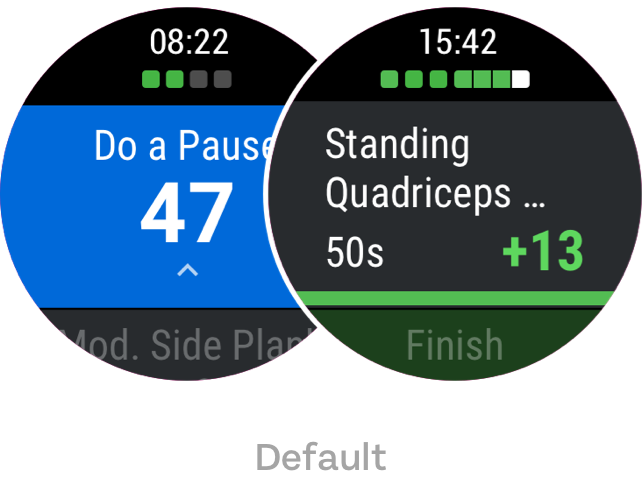 two wear os screens showing default exercise status