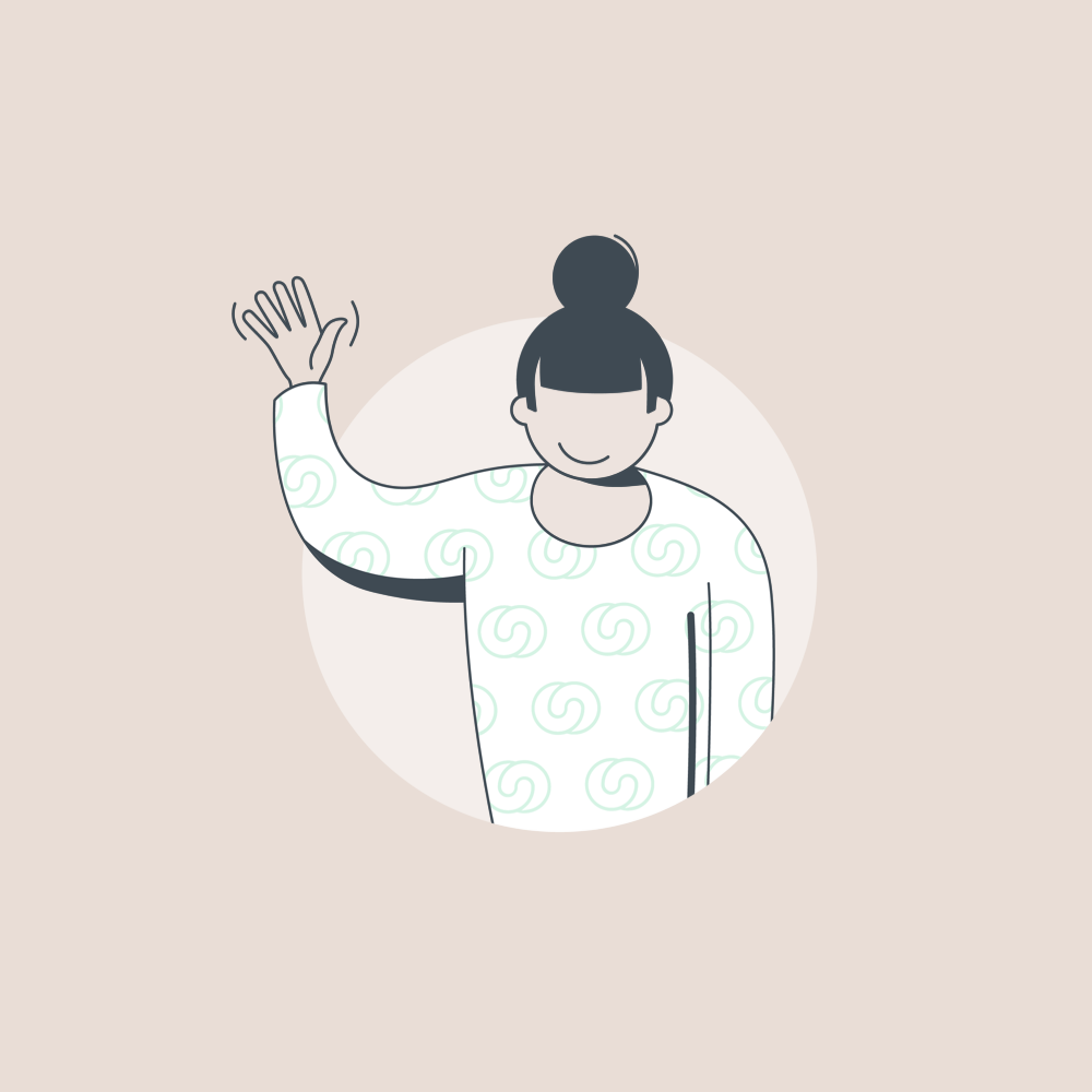 illustration of a woman waving the hand