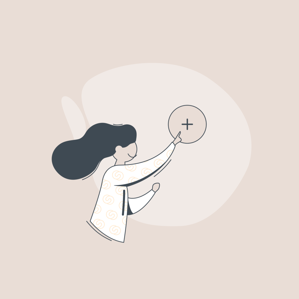 illustration of a woman pointing on a plus