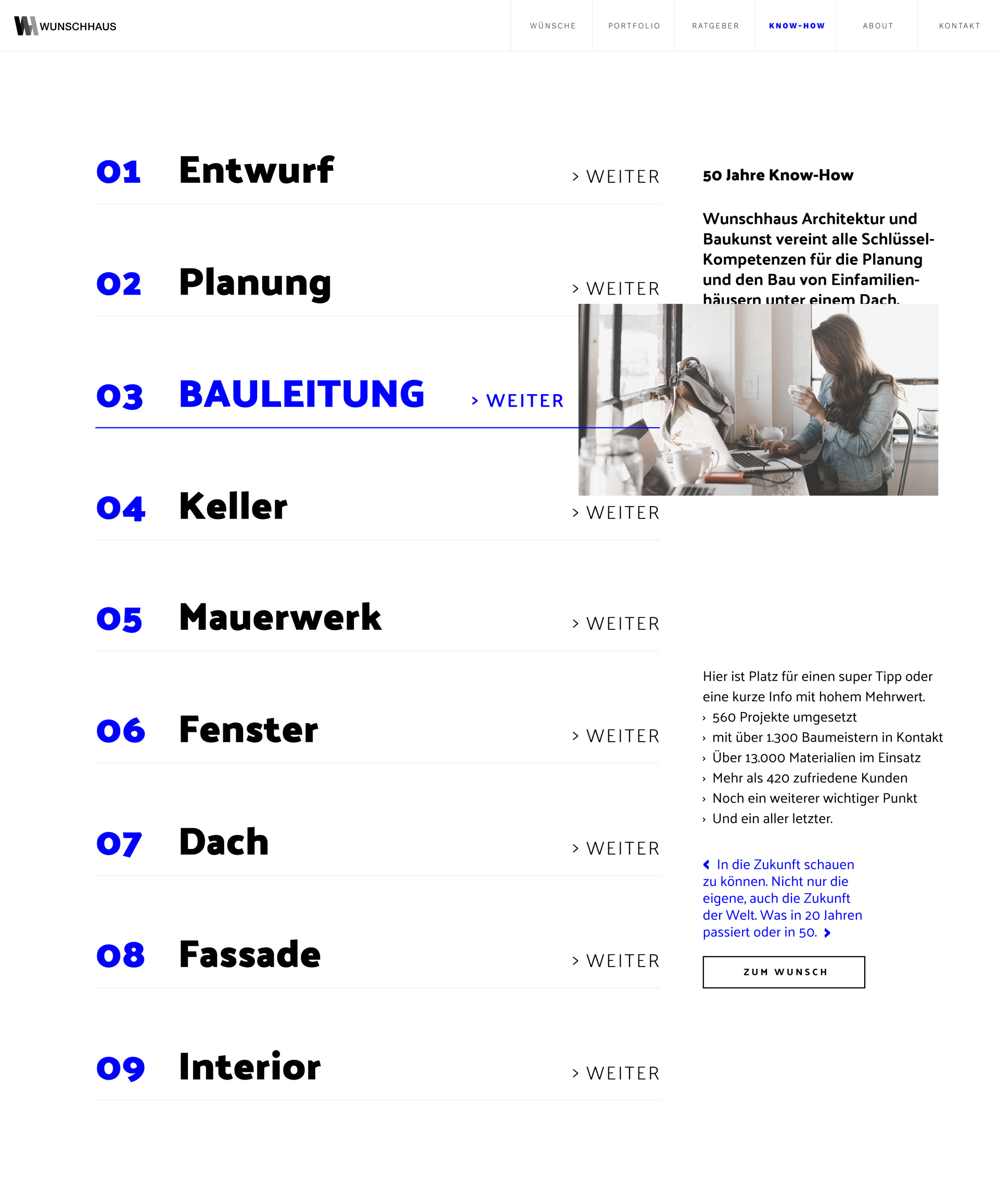 screenshot of wunschhaus's guide page