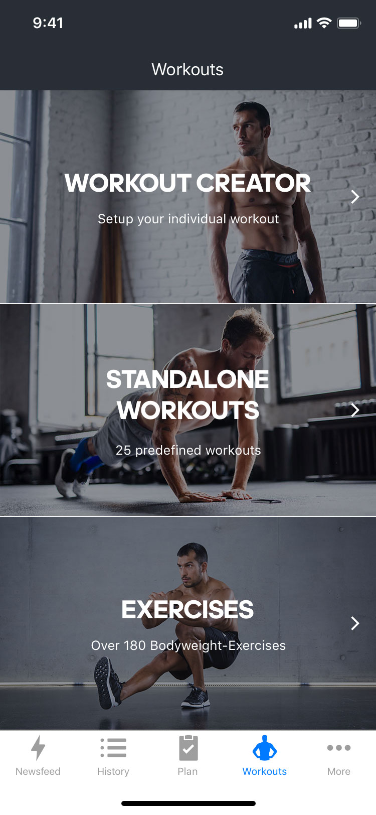 mobile screen showing an overview of workout types