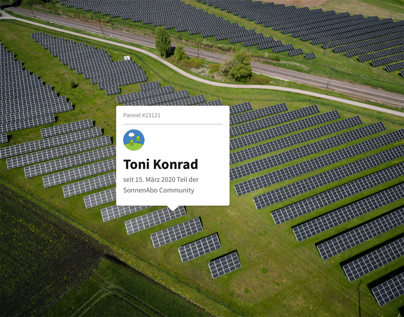 image of a solar park. a customized ui element is pointing at one panel