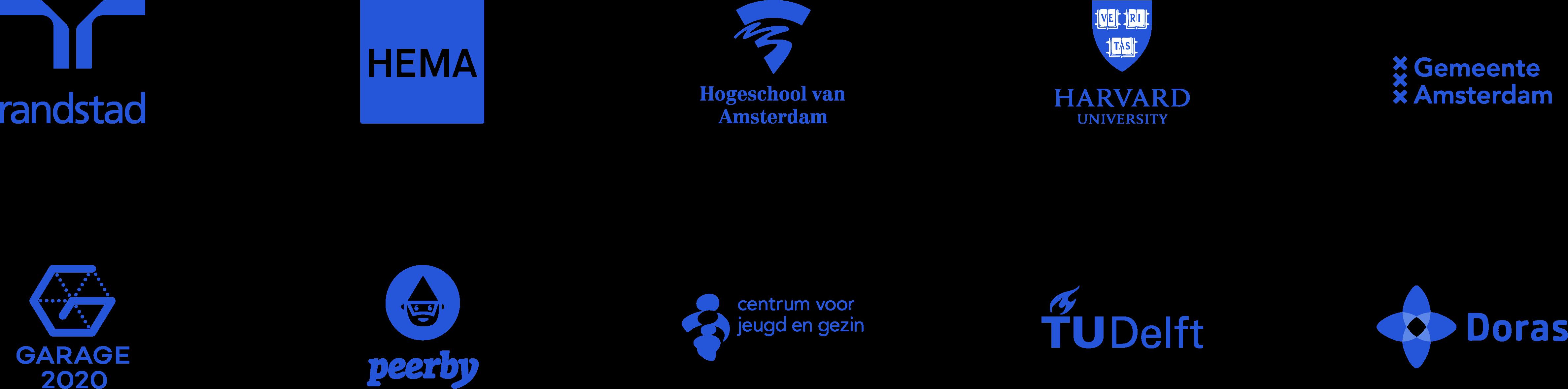ink partner logos, randstad, hema, hogeschool van amsterdam, harvard, gemeente amsterdam, garage2020, peerby, cjg, tudelft, doras