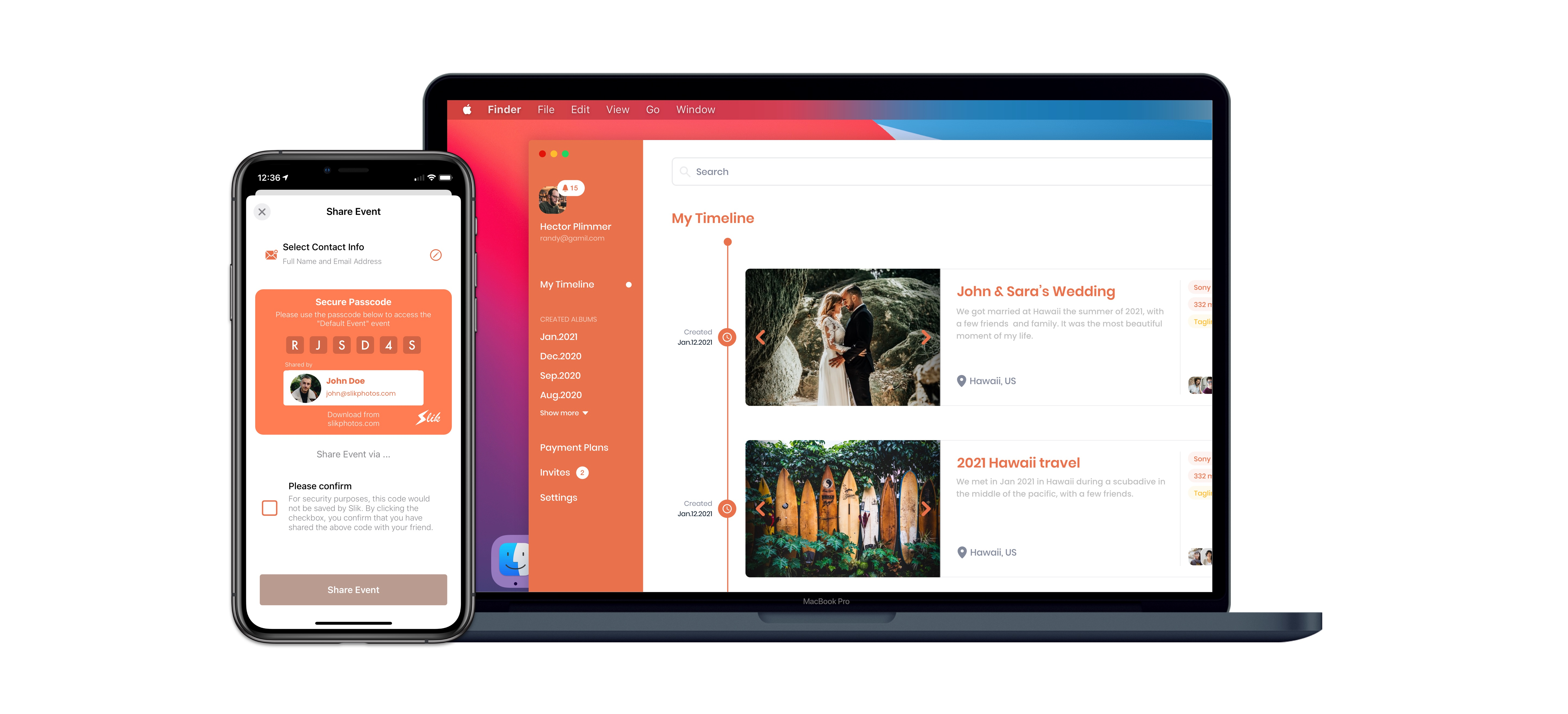 Slik Photos app screenshots for the mobile and desktop (macOS) app. The screenshots display how easy it is to securely share photos with end-to-end photo encryption.