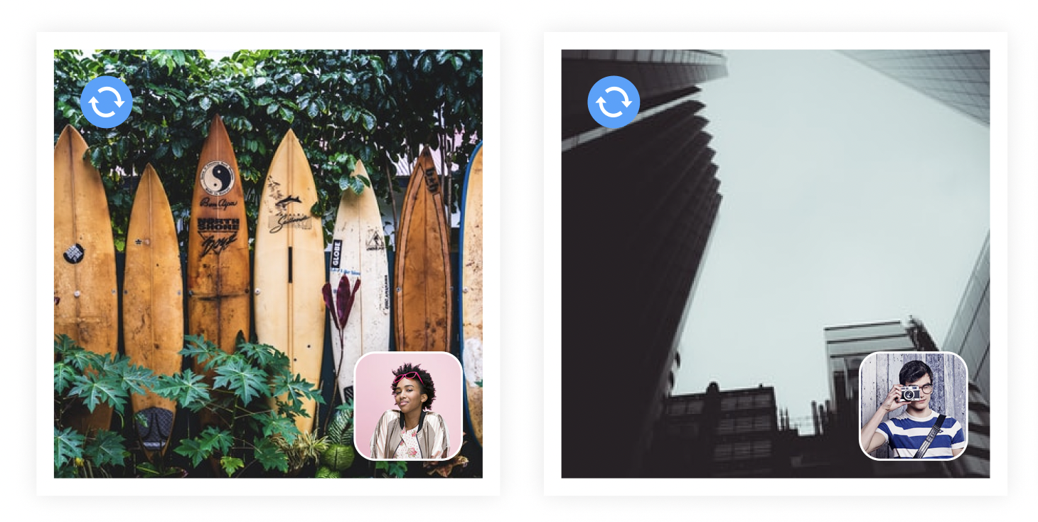 Multiple images that show a team collaborating on an album with photos being added by different users.