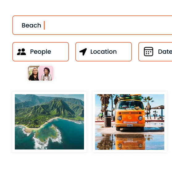 Displaying how easy and powerful it is to search photos in Slik using tags, people, location, date and more.