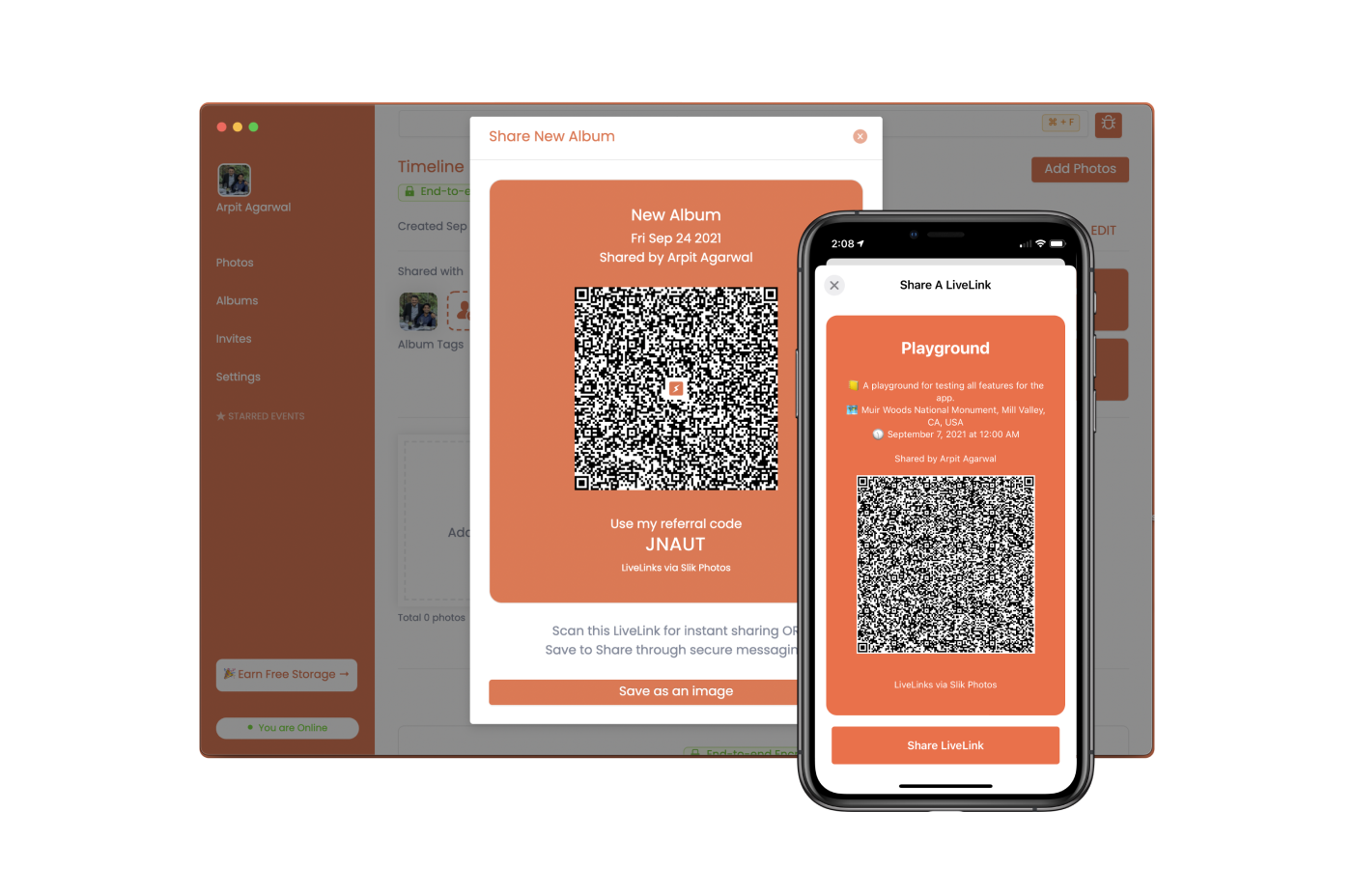 Slik Photos - Easily share photos with friends by simply scanning a QR code. Everything still remains end to end encrypted.