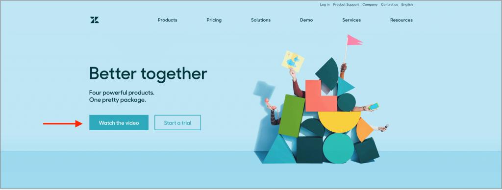 Zendesk suite website for example