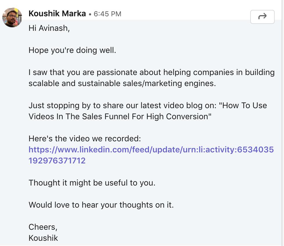 Koushik's linkedin post