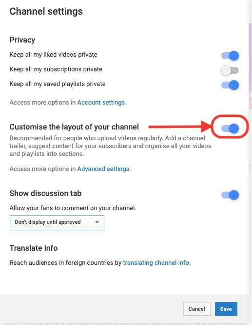 Enable channel settings