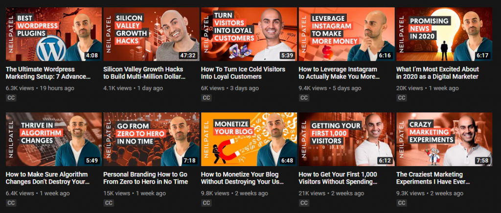 Neil Patel's video playlist on Youtube