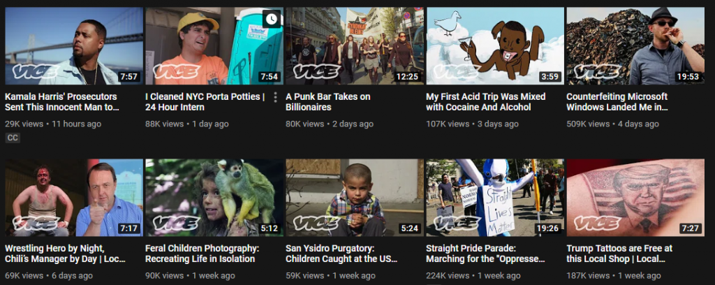 Vice's videos on Youtube