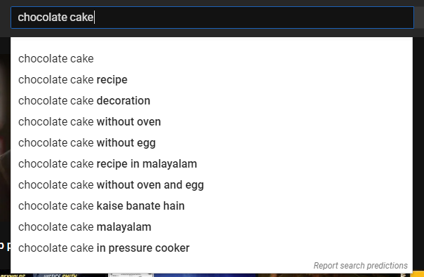 Suggested searches for keyword 'chocolate cake'