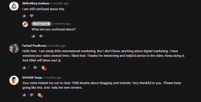 Neil patel responding to comments on one of his youtube videos