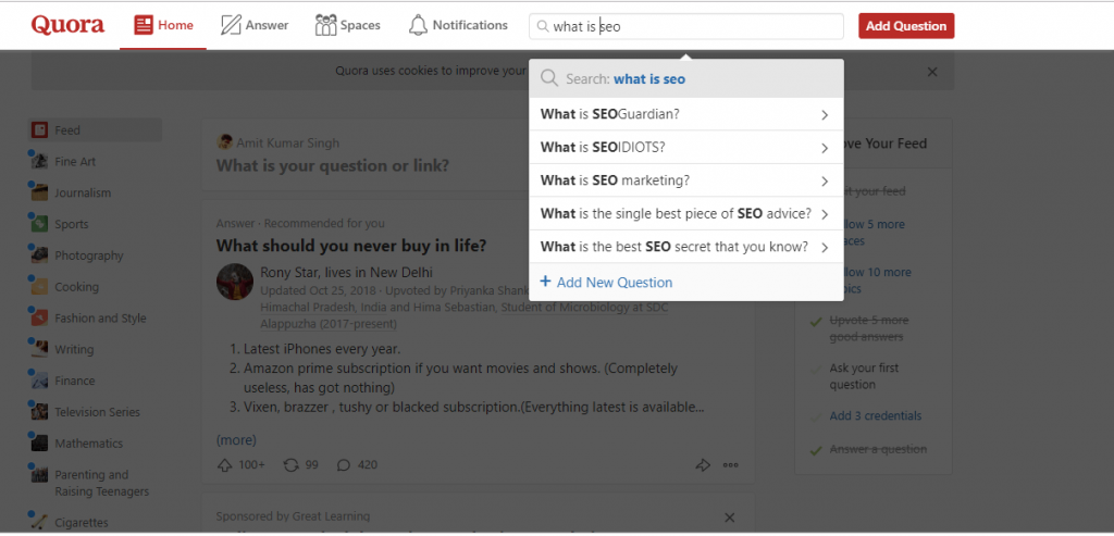 seo questions in quora keywords