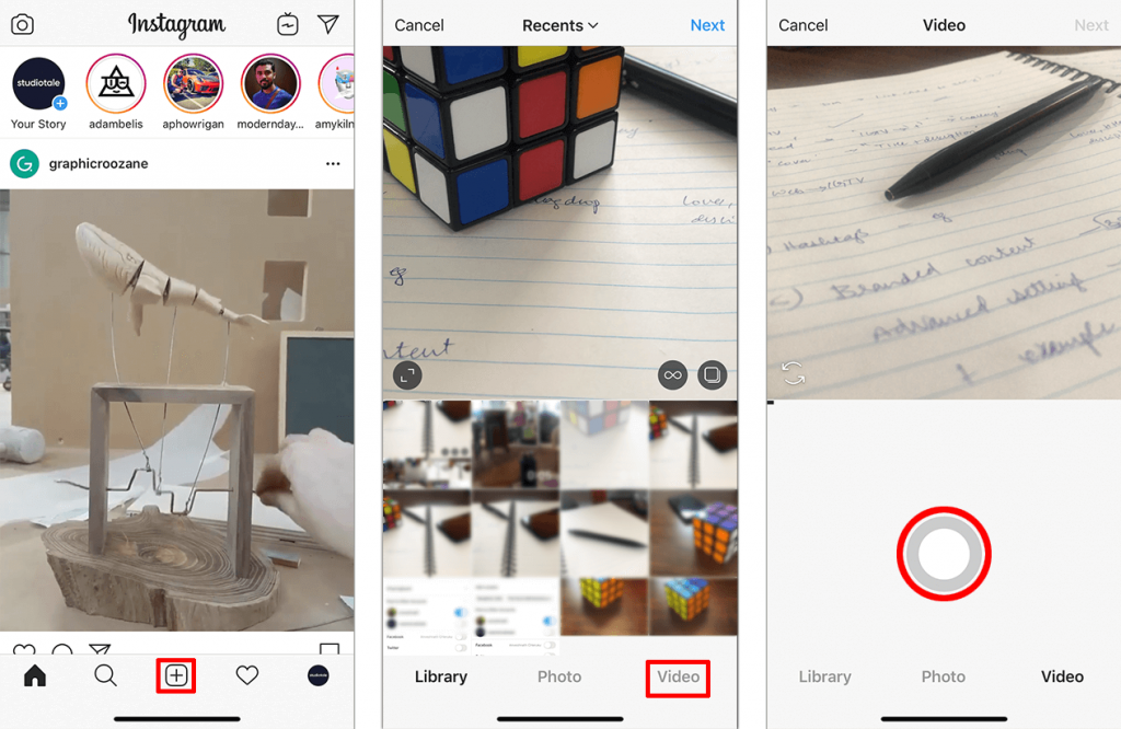 Shooting a video directly from the Instagram Feed