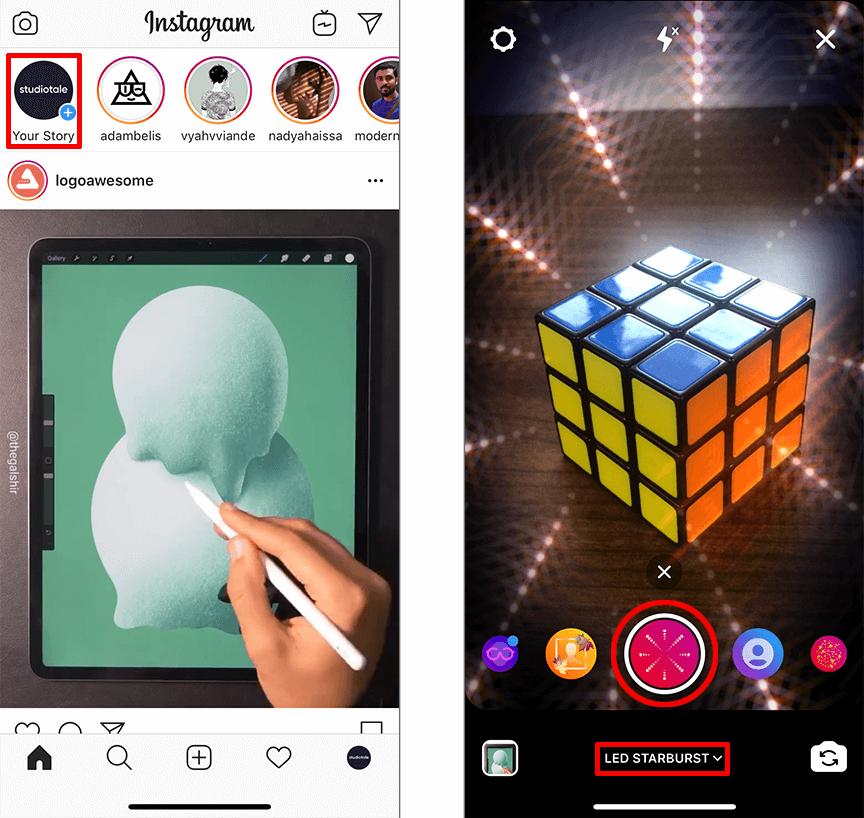 Uploading a video on Instagram Story