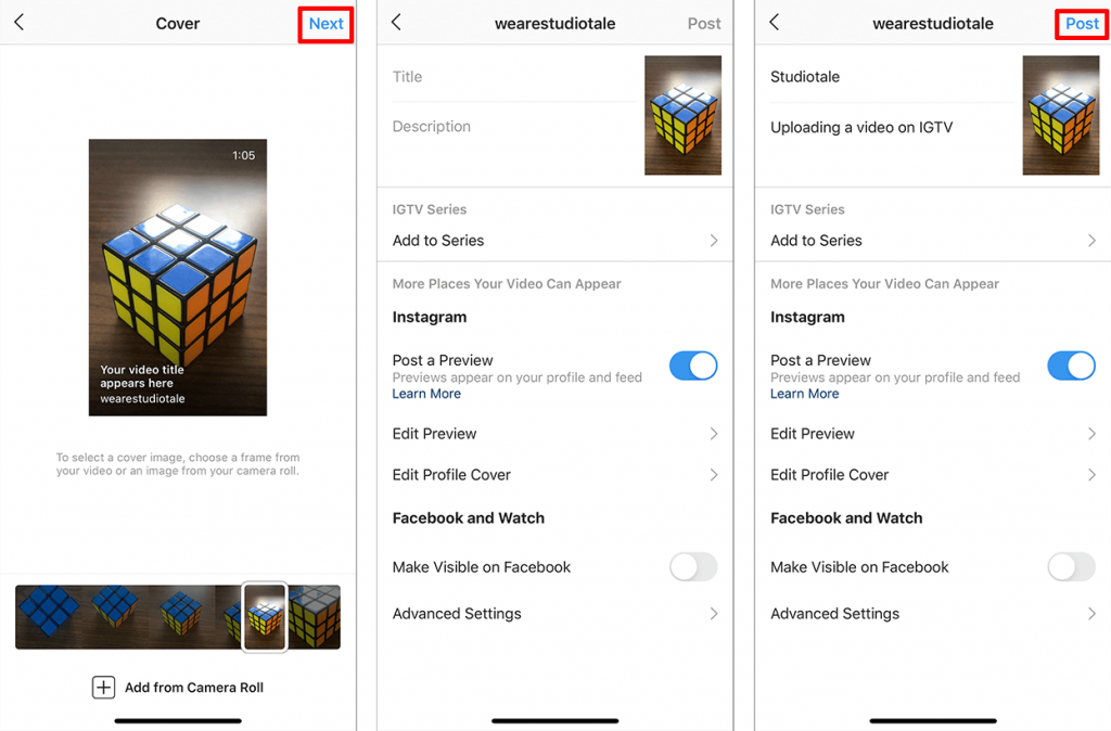 IGTV video upload - Selecting a cover image, Setting title and description