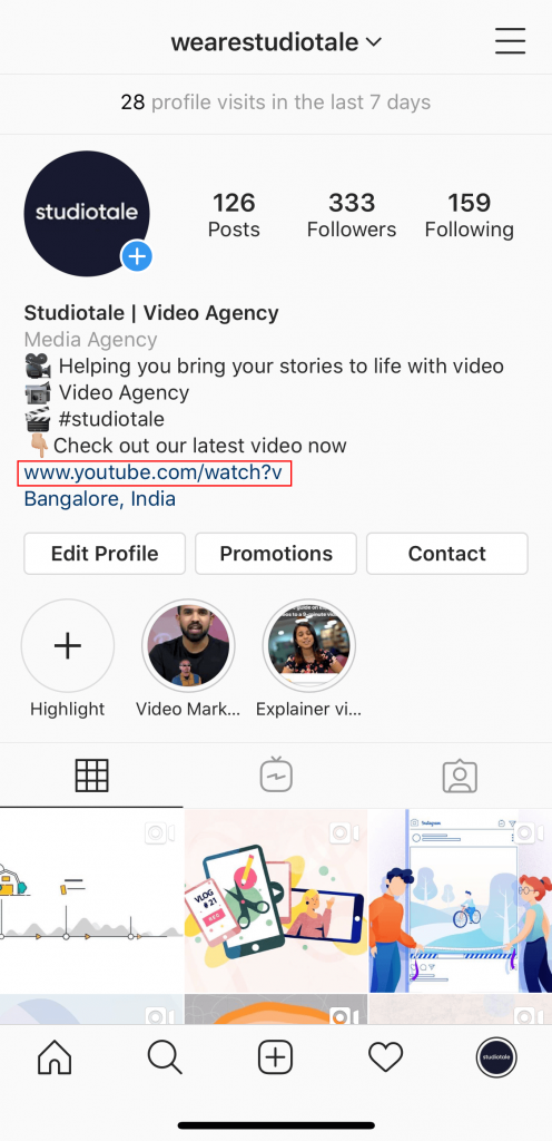Adding external link in Instagram profile bio