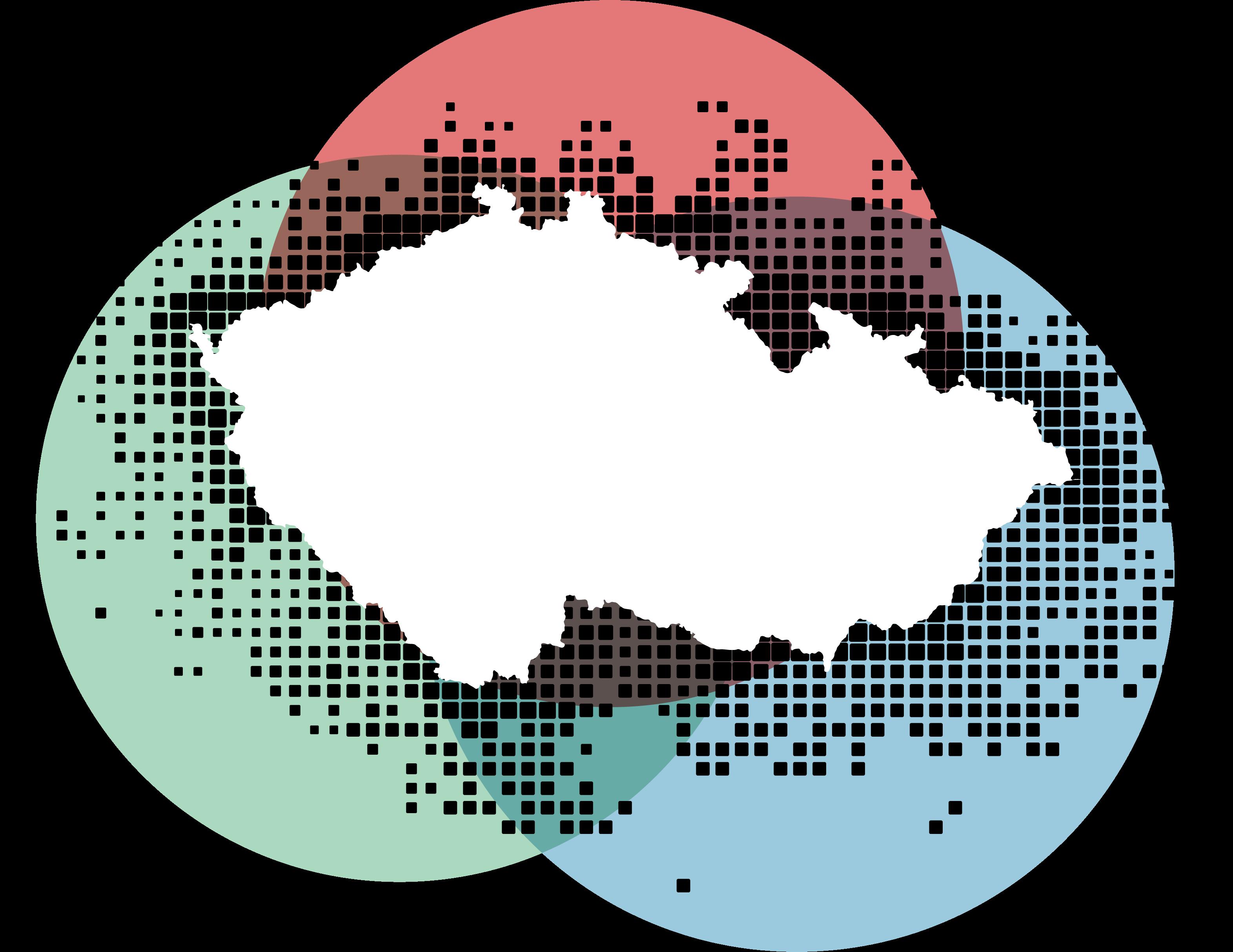 Tvar české republiky na abstraktním pozadí znázorňujícím volební aktivitu v zahraničí
