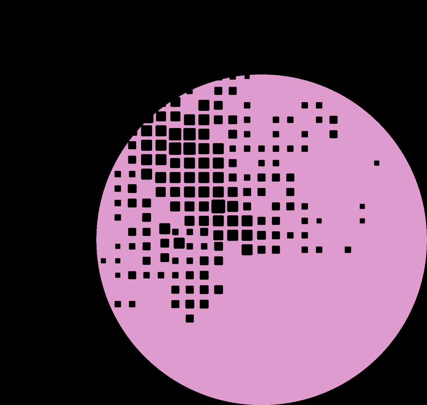 Abstraktní dekorace, černé čtverce na pozadí kruhu