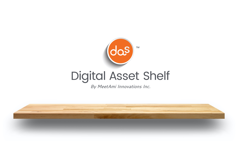 A wooden shelf holding the words digital asset shelf by MeetAmi innovations Inc.