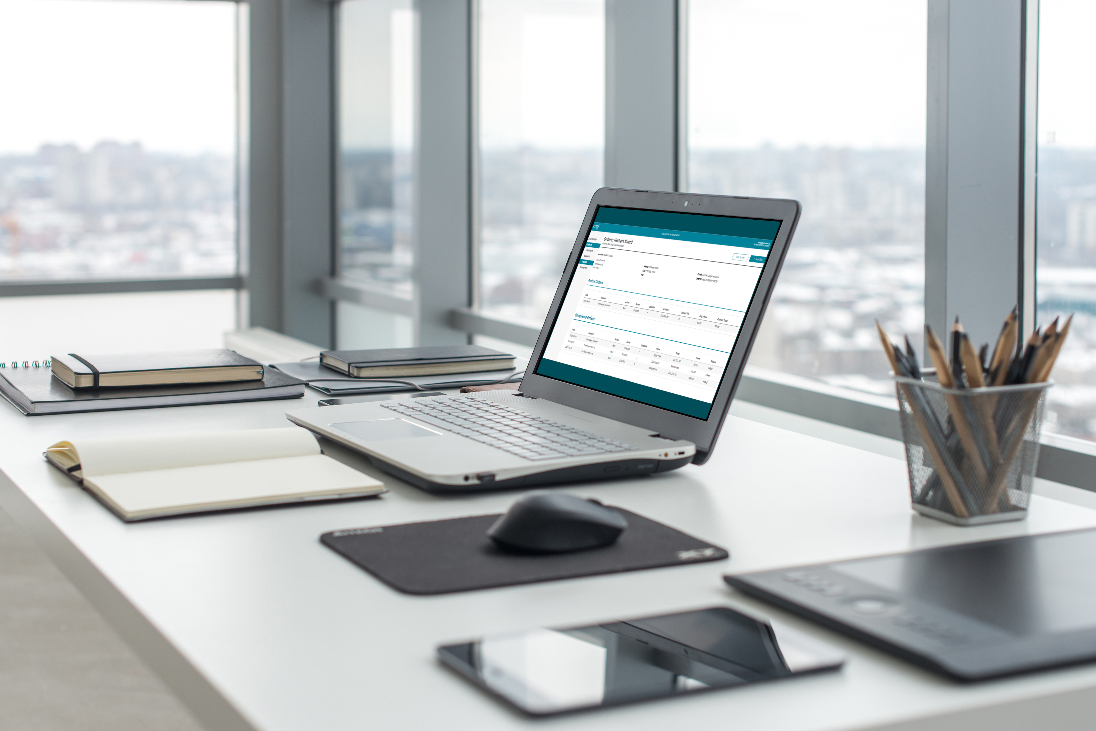 A laptop open on a desk showing a balance sheet inside the AmiPro software.