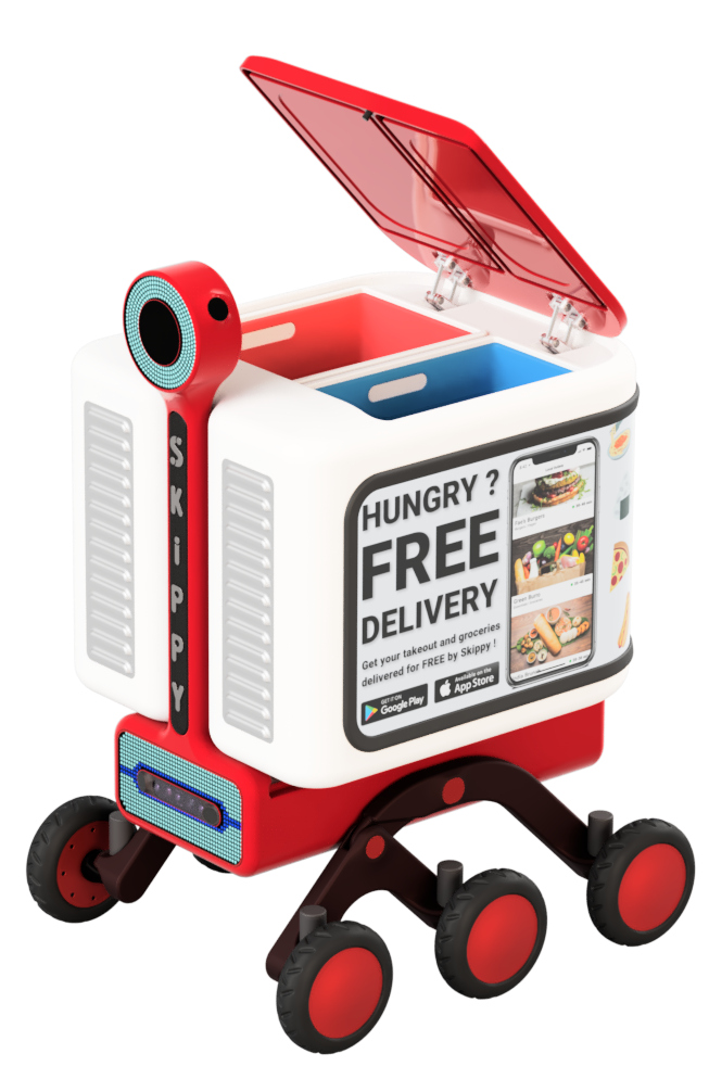 Skippy the delivery robot with opened container