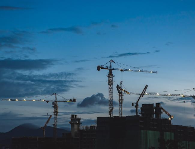 Construction yard at sunset.