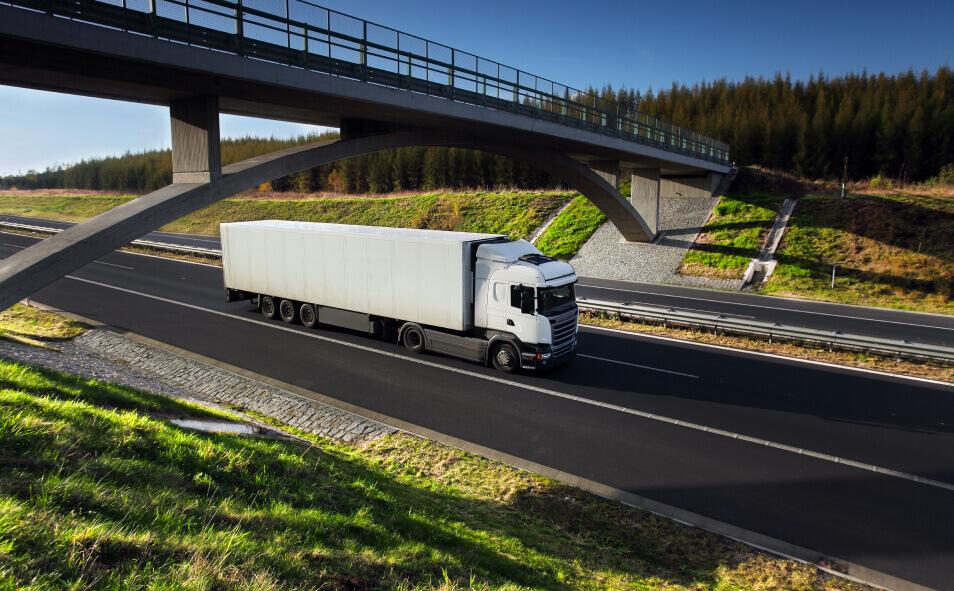 Truck transportation on the road under bridge